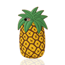 New 3D Cartoon Case Anti Knock Pineapple soft Silicone Yellow Case for iPhone 5 5s 6 6s Plus Coque for Summer Cellphone Case