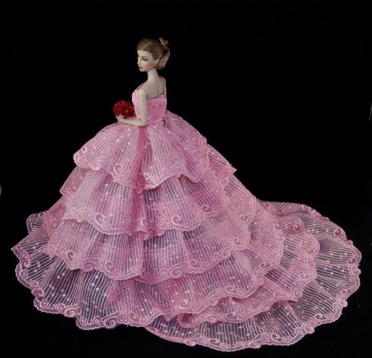 Как сшить платье с пышной юбкой для кукол 12
