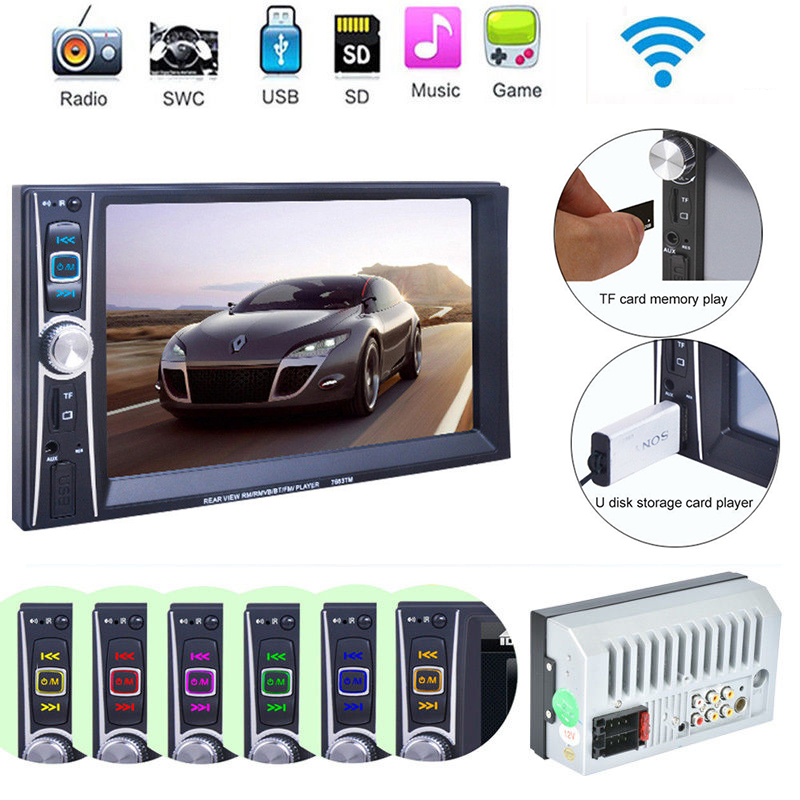 """Double 2 Din 7"""" Touchscreen In Dash Bluetooth Stereo Car CD DVD MP3 Radio Player Car Multimedia Player(China (Mainland))"""
