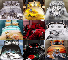 Twin Full queen 100%cotton 3d tiger sunflower red rose car starfish Fitted Sheet bedding sets bed linens duvet covers bed sets(China (Mainland))
