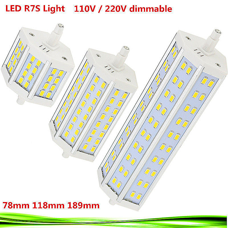 Dimmable LED R7S bulb 110V 220V 15W 25W 30W led r7s 78mm 118mm 189mm spot light replace halogen Lamps floodlight lampadas - Shenzhen Dream-light international trade technology company store