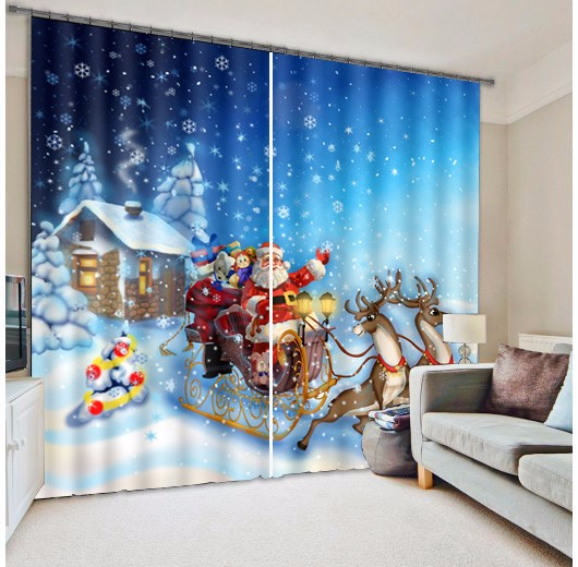 Shade Fabric Christmas Santa Claus 3d Photo Printing Blackout Curtains For Living Room Bedding