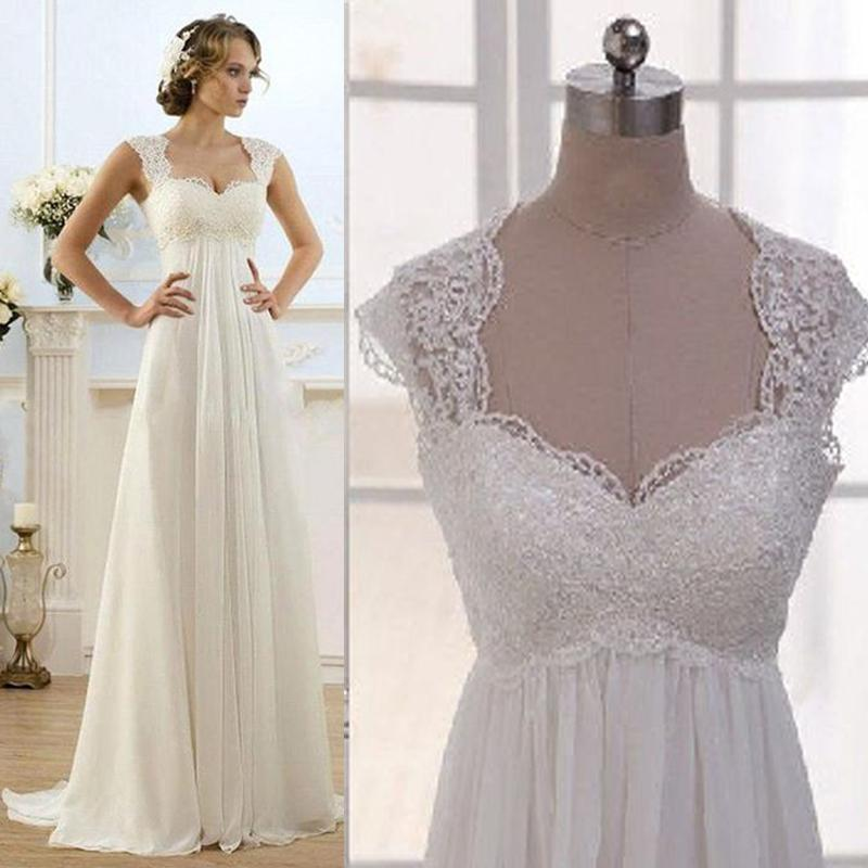 Vintage wedding dress beach chiffon a line empire waist for Plus size maternity wedding dresses
