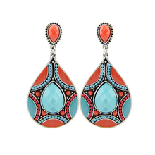 Free Shipping Min Order $10 (Mix Order)New Arrival Vintage Ethnic Women Silver Plated Colorful Beads Large Earrings Jewelry