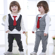 Super deals Spring baby boys suits gentleman set neckties tops vest plaid font b tartan b