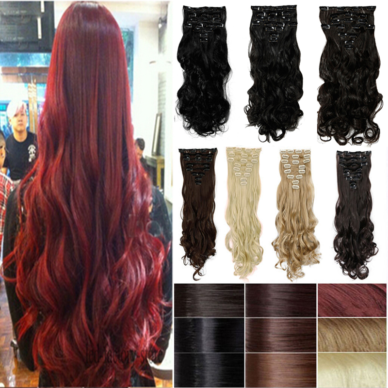 8pcs/set 17inch Curly Highlight Synthetic Clip on in Hair Extensions Support USA LOCAL Fast Shipping<br><br>Aliexpress