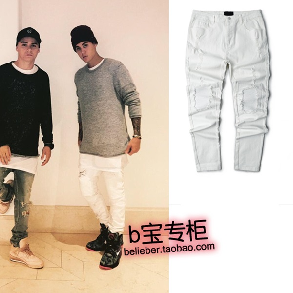 Justin bieber trend street distrressed trousers slim white casual pants - Jimmy Show Store store