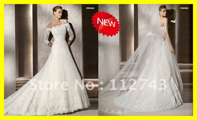 Most Beautiful Off Shoulder Chapel Train Lace Beaded Wedding Dress With Middle Sleeves Free Shipping