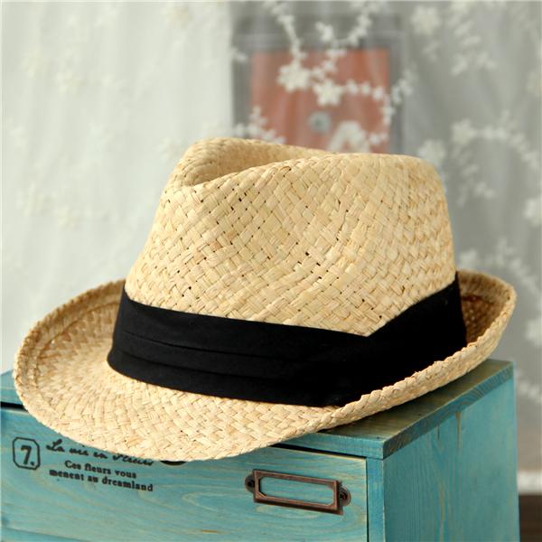 Fashion Summer Men's Fedora Panama Jazz Hat Sandy Beach Sun Natural Raffia Straw Hats Men Retail - E-land Store 407897 store