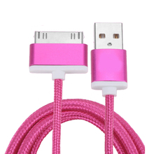 Metal Pulg Braided Wire Sync Data Charger Cable for iPhone 4 4s ipad 2 3