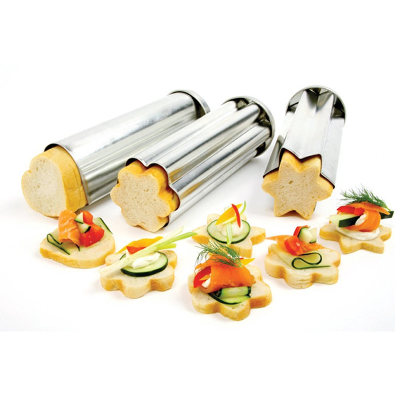 Pack of 3pcs heart star flower shaped toast mold for Canape bread tubes