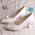 Wedopus Custom Handmade White Satin Medium Heel Wedding Shoes with Open Toes
