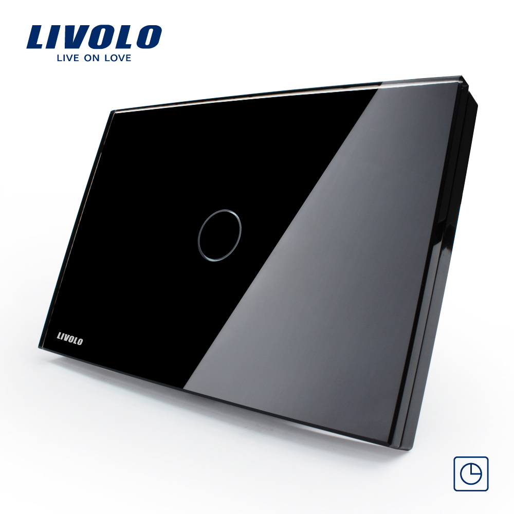 Livolo Black Pearl Crystal Glass Panel,   VL-C301T-82,US/AU, Timer Delay Control Home Light Switch<br><br>Aliexpress
