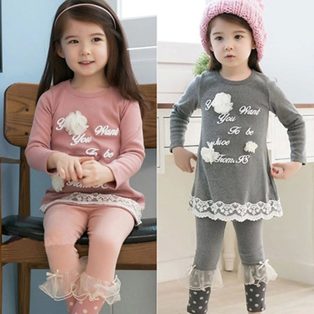 Fashion New 2016 Autumn-summer Children Clothing Sets Baby Girls Suits Long Sleeve T-shirt+Long Pants Kids Twinset