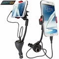 Universal Car Phone Holder Mount Stand Dual USB Charger Cigar Socket Cradle for iPhone Samsung galaxy