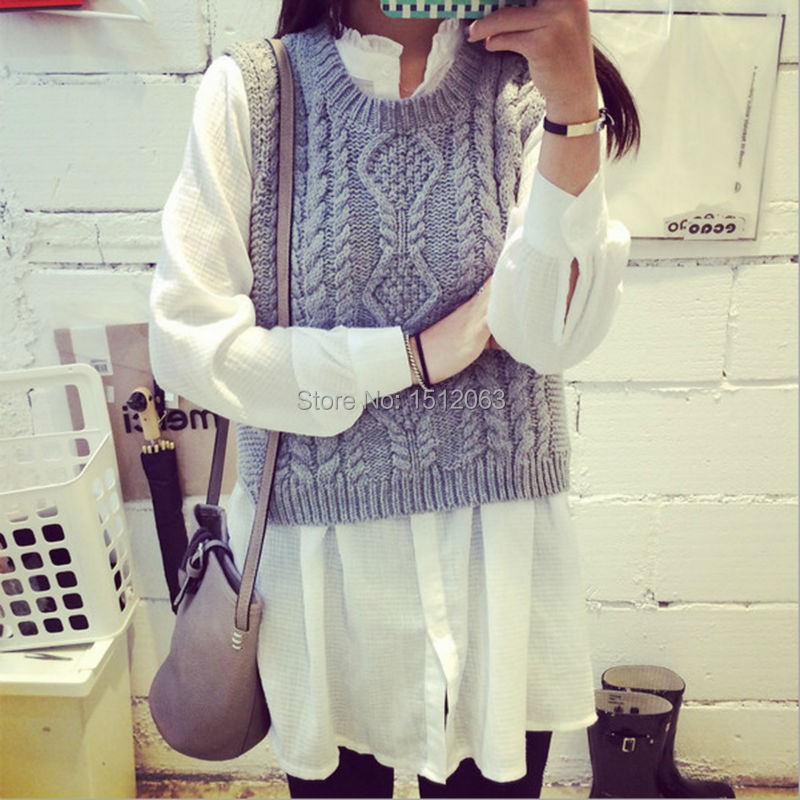 Knitting Pattern Ladies Sleeveless Cardigan : Korean Style Womens Knitted Patterns Sweater Sleeveless Sweater Mori Gir...