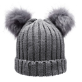 Women s Winter hat Chunky Knit Double Pom Pom Beanie Cap Faux Fur Pompom Hats Women
