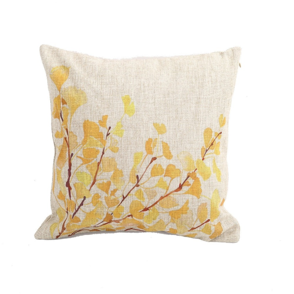 Decorative Linen Pillow Covers : Home Decor Cotton Linen Square Pillowcase Yellow Flower Tree Printed Throw Pillow Sham Cushion ...
