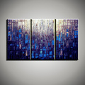 Hand painted Abstract modern 3 piece canvas wall art purple blue Knife oil painting on canvas