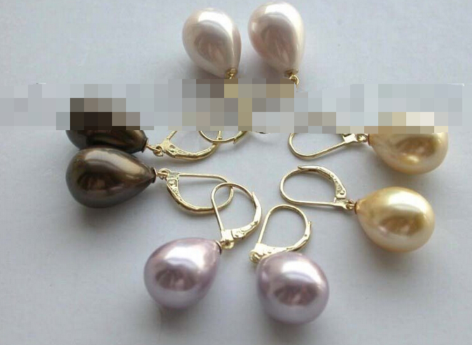 hj 00328 4pairs wholesale Natural 12x17mm Drip Shell Pearl Earrings 14k<br><br>Aliexpress