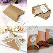 50pcs Cute Kraft Paper Pillow Favor Gift Box Wedding Party Favour Gift Candy Boxes Accessories(China (Mainland))