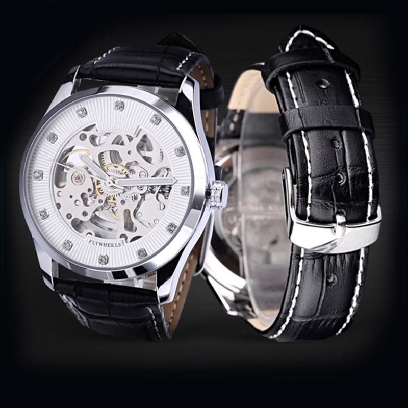2016 мужские Часы Мужчины Бизнес Наручные Часы Автоматический Встроенный Ветер Механическая Полые Часы Натуральная Кожа Сплав Keleton Часы