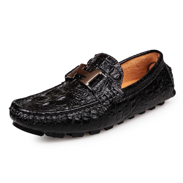 Ручной крокодил стиль весна мужской обуви свободного покроя из натуральной кожи мужчины ...