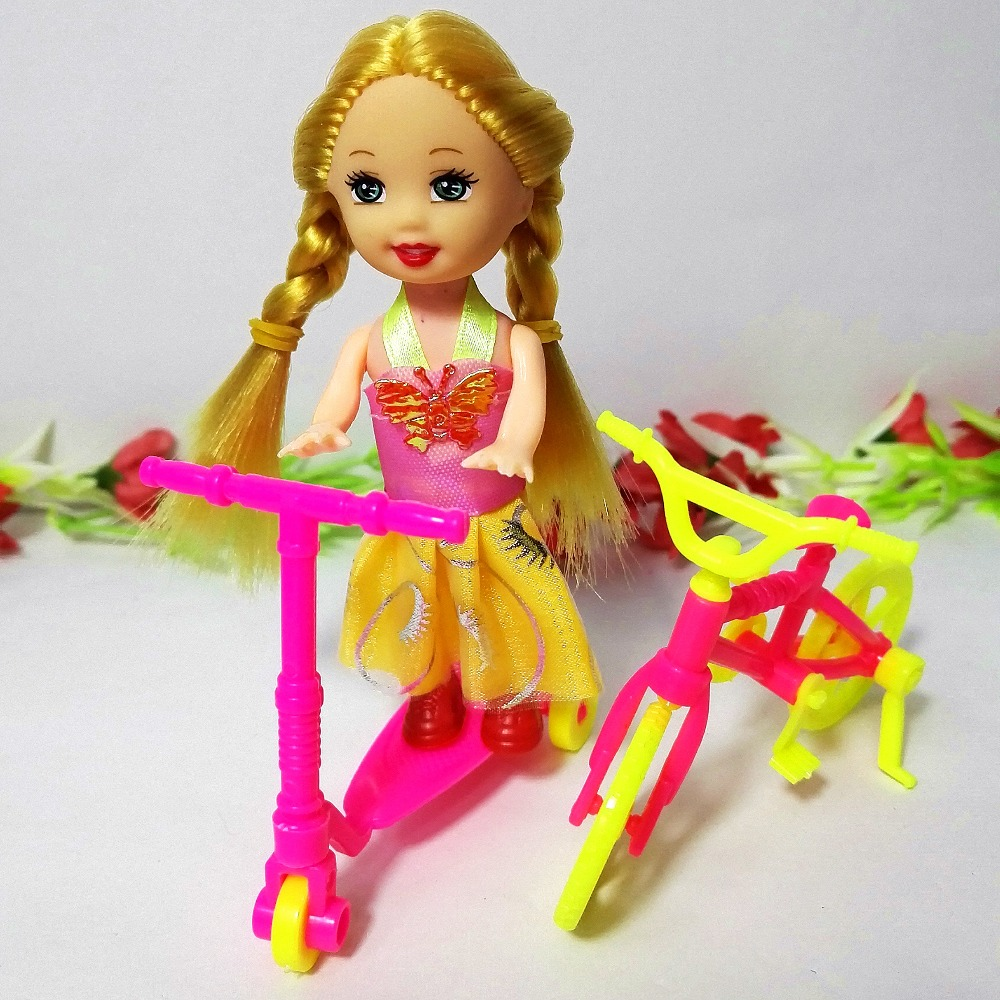 3pcs/lot scooter+ Bicycles+ mini doll Bikes Mini Toy for Barbie,doll Equipment Women Items Equipment Suits for 10cm Dolls