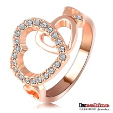 LZESHINE Brand Romantic Wedding Rings Women Ring Platinum Plated Genuine SWA Elements Austrian Crystal Heart Ring RI-HQ1078-B