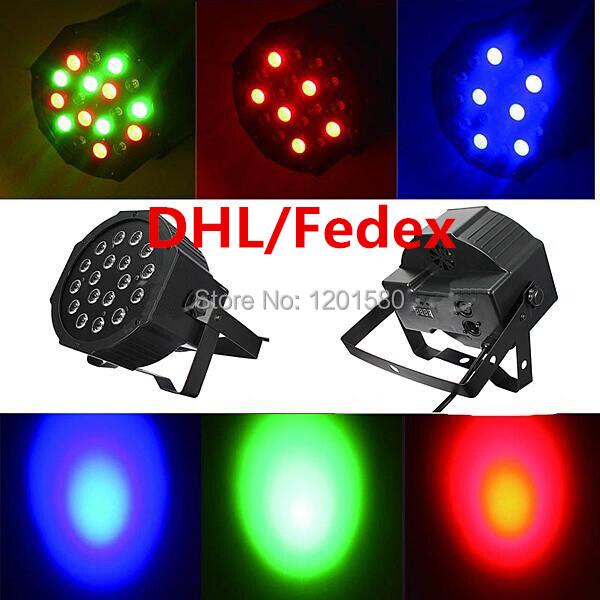 20pcs 18X3W 18X3W LED RGB Mini Par Light 54W Slim Par Can LED Flat Par64 DMX Stage Lighting Fast Shipping(China (Mainland))