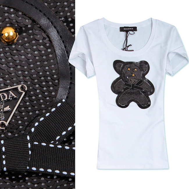 2015 fashion womens females ladies famous P brand Sequins Cubs bear cotton short sleeved tee shirts 3colors free shipping(China (Mainland))