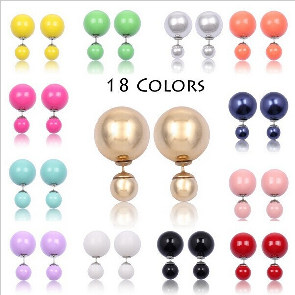 Wholesale Korea Design Double Faced Imitation Pearl Stud Earrings with Jelly Colors women fashion Earring(China (Mainland))