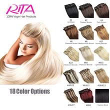 16 цвет клип в человеческих волос 7 шт. за комплект человеческие волосы клип-в расширениях рита Cheveux Humain клип Cabelo tic-tac-продажи