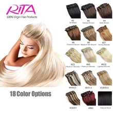 16 Color Available Brazilian Hair Clip In Human Hair Extensions 7pcs Full Head Set Rita Hair Clips Aplique Tic Tac Cabelo Humano(China (Mainland))