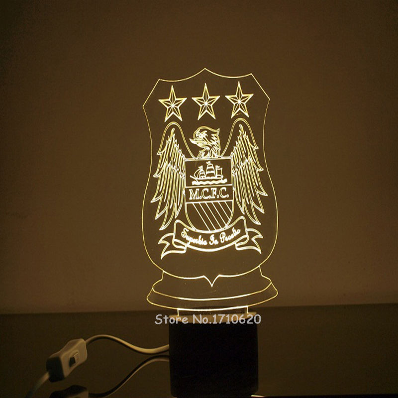 Free Shipping Manchester CFC 3D Lamp Table Lamp For Bedroom Kids Room Decor Lampshades Special Gift(China (Mainland))