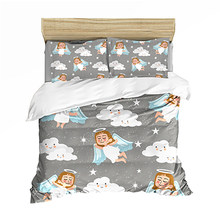 3D Print Kids Comfortable Cute Angel Cloud Bedding set Bedclothes Include Duvet Cover Pillowcase Print Home Textile Bed Linens(China)
