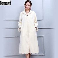 Nerazzurri/зимнее пальто из натурального меха, женское Длинное Элегантное теплое пальто большого размера из шерсти, пальто из овечьей шерсти, 5XL ...(China)