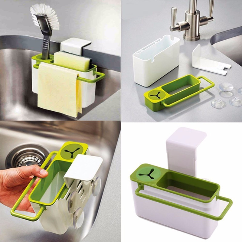 Easy Kitchen Suction Cup Base Brush Sponge Sink Draining Plastic Holder Towel Rack Storage Box Cleaning Tool Organizers(China (Mainland))