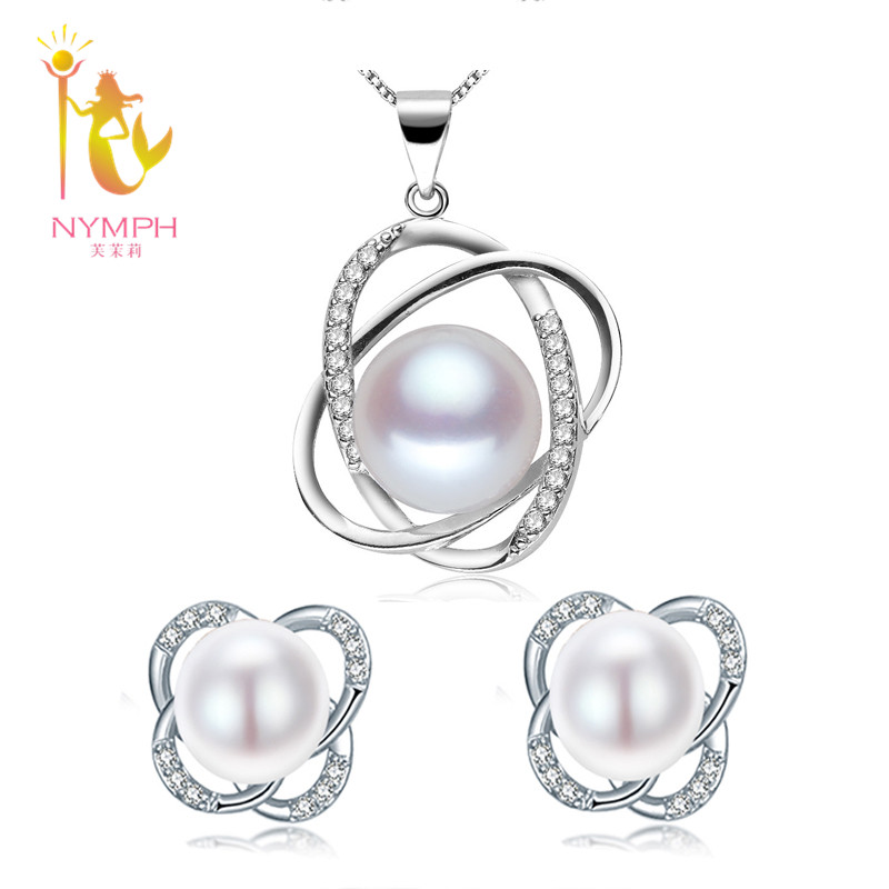 [NYMPH] Natural Pearl Jewelry Sets 925-Sterling-Silver Jewelry Trendy Real Fresh Water Rearl Necklace Pendant Earrings ST12(China (Mainland))