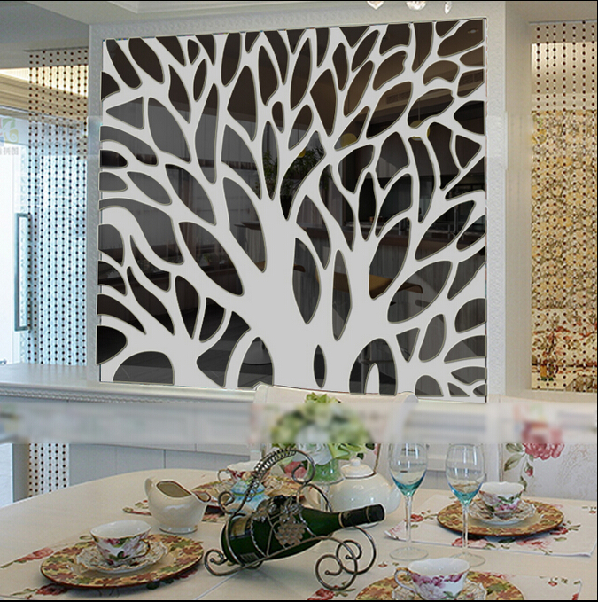 2015 new 3d large tree mirror wall stickers mirror for Decorative mirrors for less