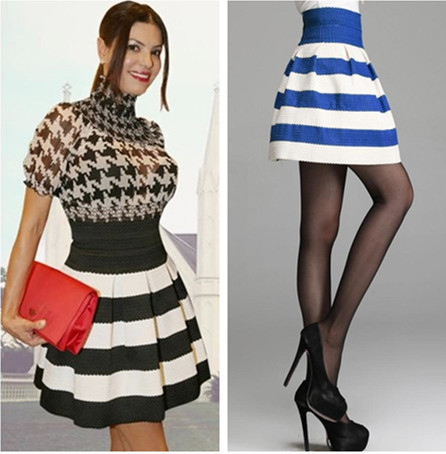 2014 summer new pleated skater skirts black and