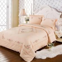 100% cotton Salmon color jacquard Cross stitch  lace  4 pieces bedding sets   Wedding four- piece kit  large size(China (Mainland))