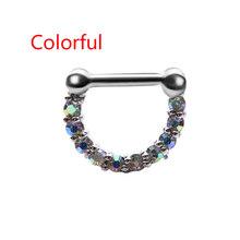1Pcs יוניסקס האף טבעת פלדה כירורגית מעוקב Zirconia מחץ Clicker האף טבעת חישוק פירסינג תכשיטים(China)