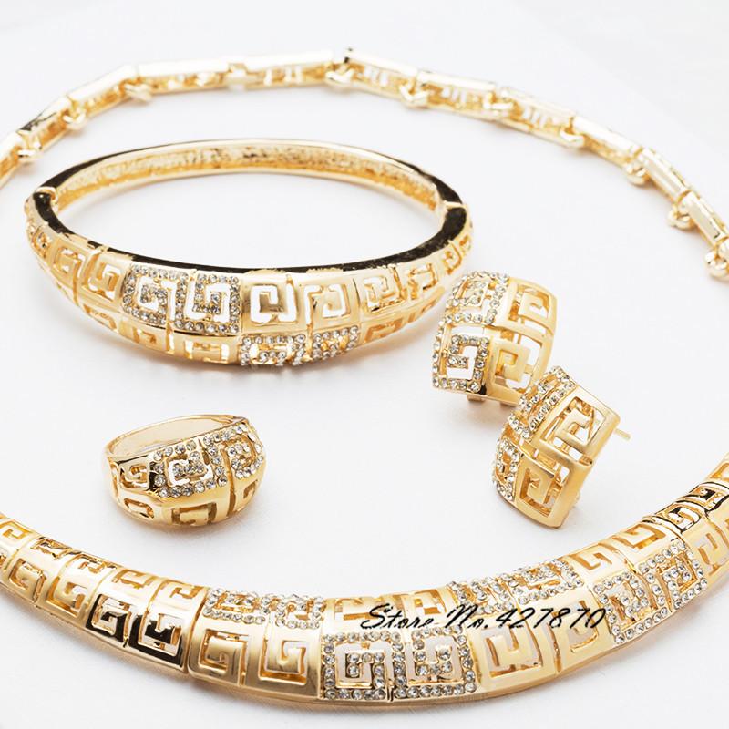 Dubai Fashion African 18K Gold Plated Necklace Bangle Earrings Ring Jewelry Sets Women Wedding Bridal Costume J069 - XinXin store