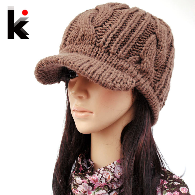 Knitting Patterns Ladies Winter Hats : Winter knitted hat wide brim quality female knitted hat ...