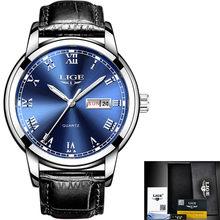 LIGE montre hommes mode sport Quartz plein acier or affaires hommes montres haut marque de luxe étanche montre Relogio Masculino(China)