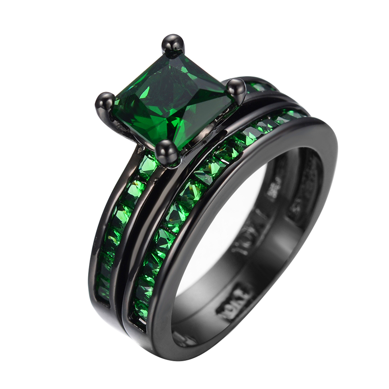 Classic Emerald Jewelry Princess Cut Green CZ Wedding Ring Set Anel Vintage Black Gold Filled Engagement Rings For Women RB0362(China (Mainland))