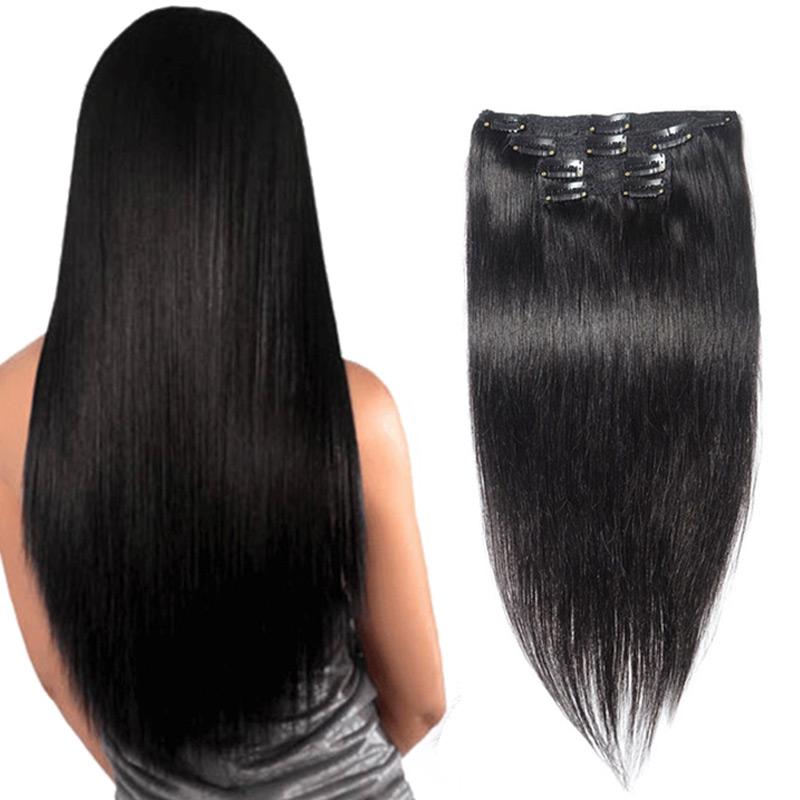 """Фотография 26"""" 10PCS 120G Clip In Human Hair Straight Virgin Hair Clip In Hair Extensions Full Head Clip In Human Hair Extensions Black #1B"""