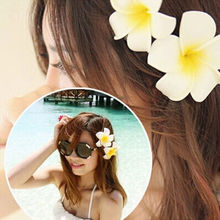 Women Hawaii Flower Corsages Brooch Pin Clip Barrettes Seaside Wedding Bridal Hair Jewelry