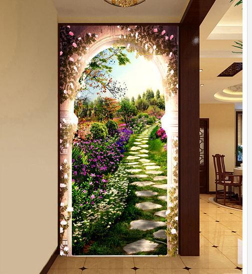 Custom personalized 3D garden entrance hallway after hallway background papel de parede non-woven wallpaper Free shipping7540(China (Mainland))
